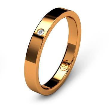 Кольцо обручальное с бриллиантом шириной 3 мм из красного золота W135RD141