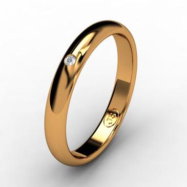 Кольцо обручальное с бриллиантом шириной 3 мм из красного золота W235RD141