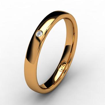 Кольцо обручальное с бриллиантом шириной 3 мм из красного золота W335RD141
