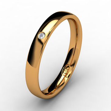 Кольцо обручальное с бриллиантом шириной 3 мм из красного золота W435RD141