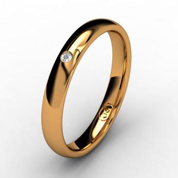 Кольцо обручальное с бриллиантом шириной 3 мм из красного золота W535RD141