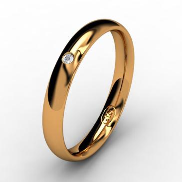 Кольцо обручальное с бриллиантом шириной 3 мм из красного золота W635RD141
