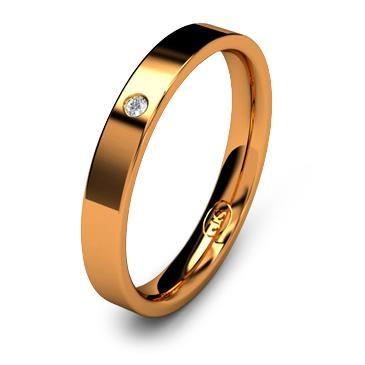 Кольцо обручальное с бриллиантом шириной 3 мм из красного золота W735RD141