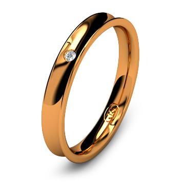 Кольцо обручальное с бриллиантом шириной 3 мм из красного золота W835RD141