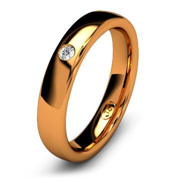 Кольцо обручальное с бриллиантом шириной 4 мм из красного золота W345RD201