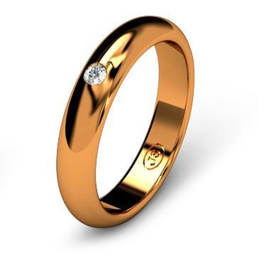 Кольцо обручальное с бриллиантом шириной 4 мм из красного золота W245RD201