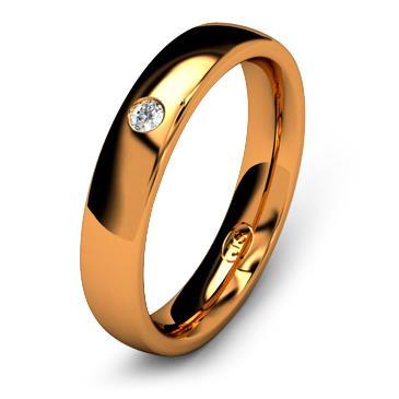 Кольцо обручальное с бриллиантом шириной 4 мм из красного золота W445RD201