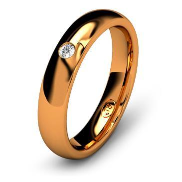 Кольцо обручальное с бриллиантом шириной 4 мм из красного золота W545RD201