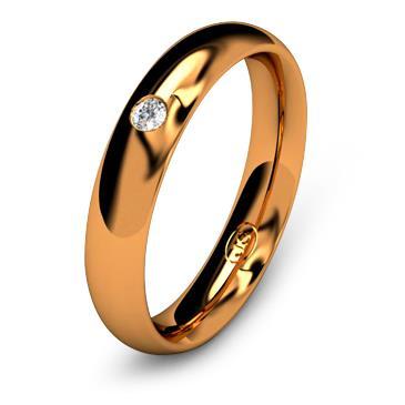 Кольцо обручальное с бриллиантом шириной 4 мм из красного золота W645RD201