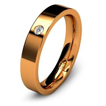 Кольцо обручальное с бриллиантом шириной 4 мм из красного золота W745RD201