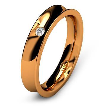 Кольцо обручальное с бриллиантом шириной 4 мм из красного золота W845RD201