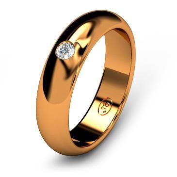 Кольцо обручальное с бриллиантом шириной 5 мм из красного золота W255RD251
