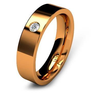 Кольцо обручальное с бриллиантом шириной 5 мм из красного золота W755RD251