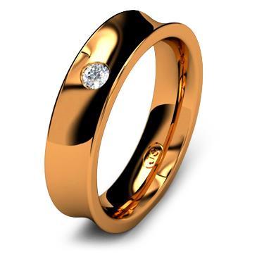 Кольцо обручальное с бриллиантом шириной 5 мм из красного золота W855RD251