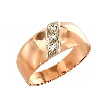 Кольцо с 3 бриллиантами из красного золота 4456