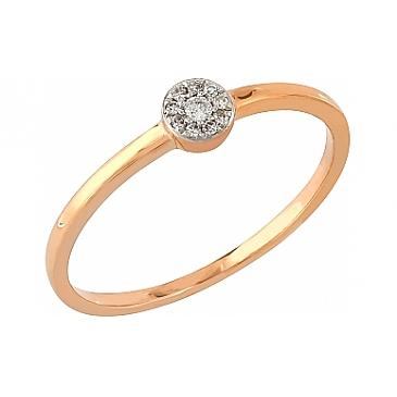 Кольцо с бриллиантами из красного золота 104937