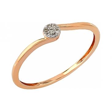 Кольцо с бриллиантами из красного золота 104940