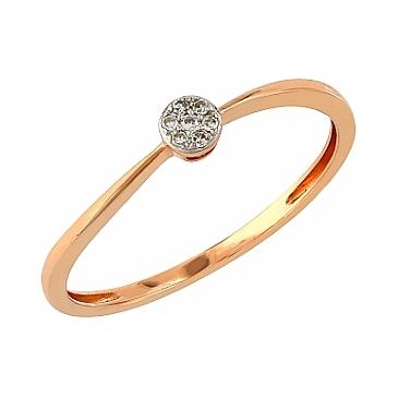 Кольцо с бриллиантами из красного золота 104947