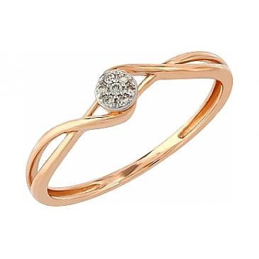 Кольцо с бриллиантами из красного золота 104948