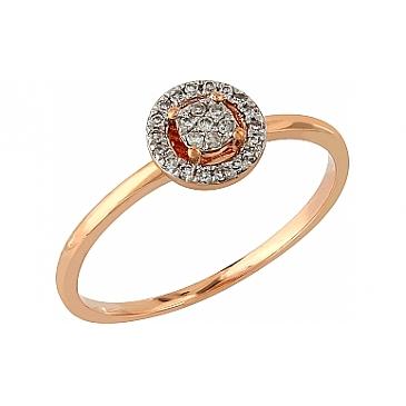 Кольцо с бриллиантами из красного золота 104974