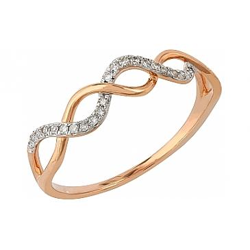 Кольцо с бриллиантами из красного золота 104960