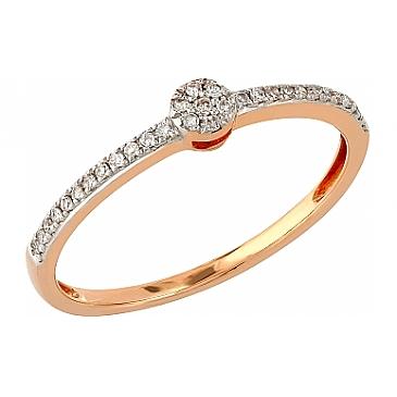 Кольцо с бриллиантами из красного золота 104949