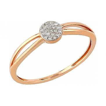 Кольцо с бриллиантами из красного золота 104938