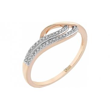 Кольцо с бриллиантами из красного золота 112860