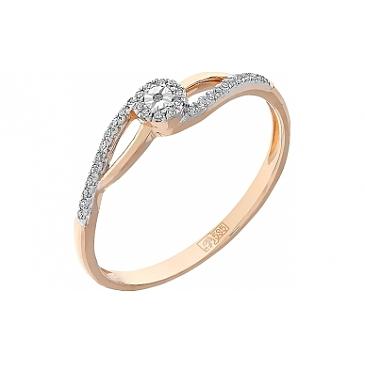 Кольцо с бриллиантами из красного золота 112861