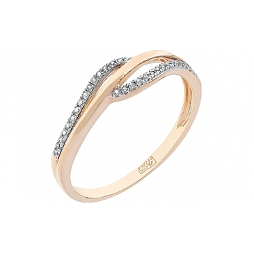 Кольцо с бриллиантами из красного золота 112813