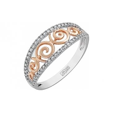 Кольцо с бриллиантами из красного золота 114898