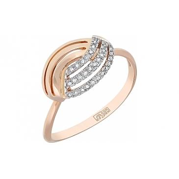 Кольцо с бриллиантами из красного золота 114899