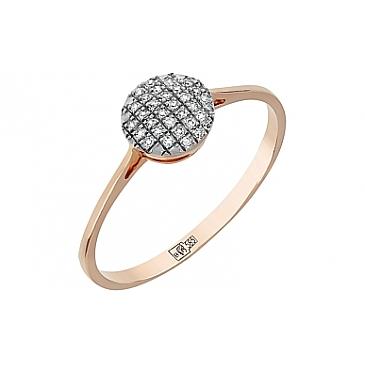 Кольцо с бриллиантами из красного золота 109805