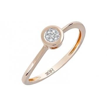 Кольцо с бриллиантами из красного золота 120604