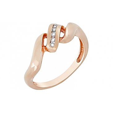Кольцо с бриллиантами из красного золота 2988