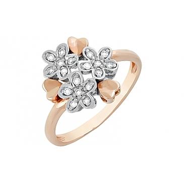 Кольцо с бриллиантами из красного золота 41171