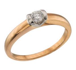 Кольцо с Бриллиантом, Красное золото 585 проба