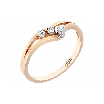 Кольцо с бриллиантами из красного золота 73101