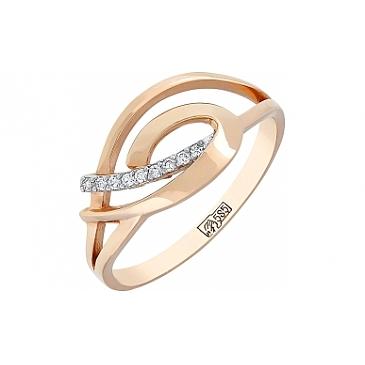 Кольцо с бриллиантами из красного золота 74041