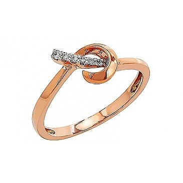 Кольцо с бриллиантами из красного золота 81901