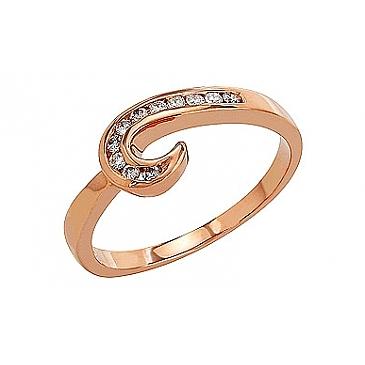 Кольцо с бриллиантами из красного золота 81896