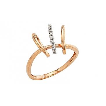 Кольцо с бриллиантами из красного золота 82208