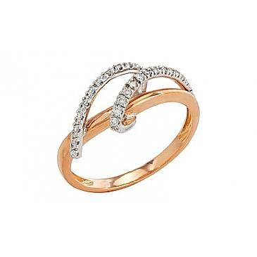 Кольцо с бриллиантами из красного золота 80684