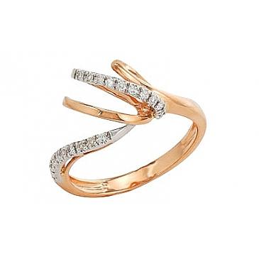 Кольцо с бриллиантами из красного золота 82244