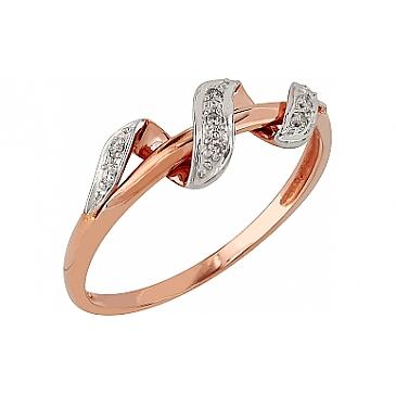 Кольцо с бриллиантами из красного золота 96080