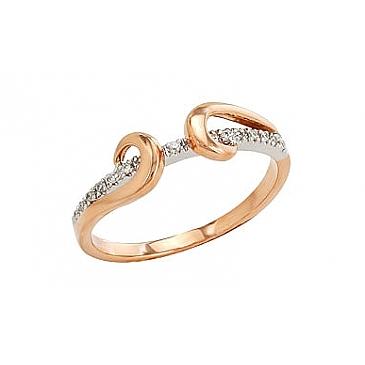 Кольцо с бриллиантами из красного золота 96305