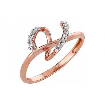 Кольцо с бриллиантами из красного золота 98160