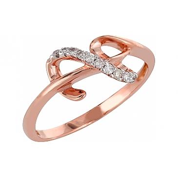 Кольцо с бриллиантами из красного золота 98162