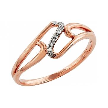 Кольцо с бриллиантами из красного золота 99005