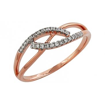 Кольцо с бриллиантами из красного золота 99011